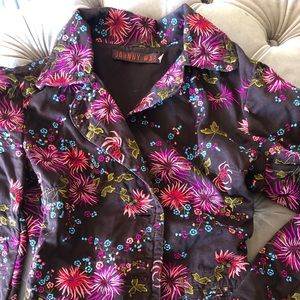 Cute brown floral embroidered Johnny Was jacket